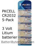 CR2032 PKCELL 5-Pack Litium 3 Volt
