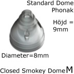 Closed Smokey Dome M 1-Pack - Phonak 054-1991