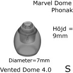 _Marvel Vented Dome 4.0 S 1-Pack - Phonak 054-0809