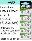AG0 10-Pack LR521 (379 SR521W SR521SW ) Batteri 1,5V  Camelion