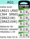 AG01 10-Pack LR621 AG1 (364 SR621SW ) Batteri 1,5V  Camelion