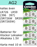 AG02 10-Pack LR726 AG2 (396 SR726SW ) Batteri 1,5V  Camelion
