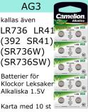 AG03 10-Pack LR736 AG3 (392 SR736SW ) Batteri 1,5V  Camelion