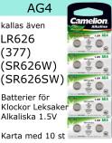AG04 10-Pack LR626 AG4 (377 SR626SW ) Batteri 1,5V  Camelion