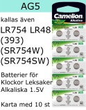 AG05 10-Pack LR754 AG5 (393 SR754SW ) Batteri 1,5V  Camelion