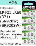 AG06 10-Pack LR921 AG6 (371 SR920SW ) Batteri 1,5V  Camelion