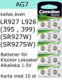 AG07 10-Pack LR926 AG7 (395 SR927SW ) Batteri 1,5V  Camelion