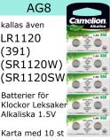AG08 10-Pack LR1120 AG8 (391 SR1120SW) Batteri 1,5V Camelion