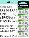 AG09 10-Pack LR936 AG9 (394 SR936SW) Batteri 1,5V Camelion