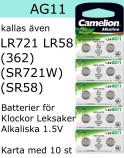 AG11 10-Pack LR721 LR58 (362 SR721W  SR58) Batteri 1,5V Camelion