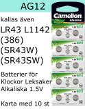AG12 10-Pack LR43 (386 SR43W SR43SW ) Batteri 1,5V Camelion