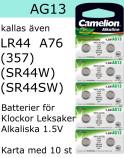 AG13 10-Pack LR44 (357 SR44W SR44SW ) Batteri 1,5V Camelion