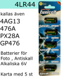 4LR44 5-Pack Alkaliskt 6V batteri Eunicell Fotobatteri Antiskall